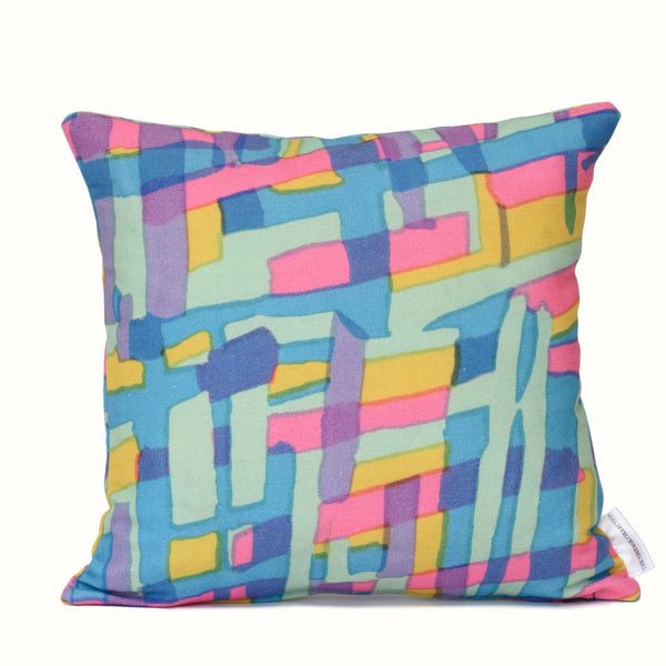 Pink & Blue Geo Cushion Cover