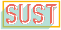 bright peach lettering with a pale teal shadow framed by a popping yellow rectangle the letters spell SUST in capitals a shortening of Sustainable which is the focus of this website.