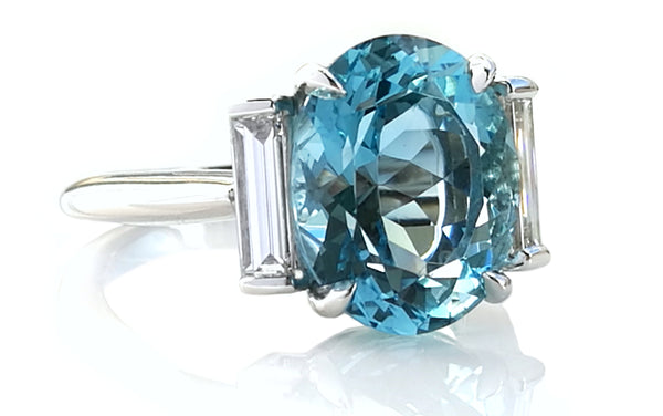 61cb58a2f March Birthstone Aquamarine - Tiffany & Co Oval Ring - Bloomsbury Manor Ltd