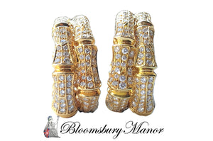 Cartier Bamboo Diamond and 18K Yellow Gold Earrings