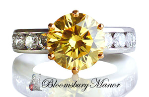 Tiffany & Co. 3.28tcw Fancy Vivid Yellow Round Brilliant Diamond Engagement Ring