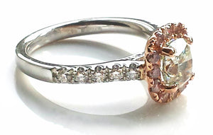 Natural Green 1.7ct VVS2 Diamond 'Soleste' Engagement Ring with Pink Diamond Halo set in Rose Gold & Platinum