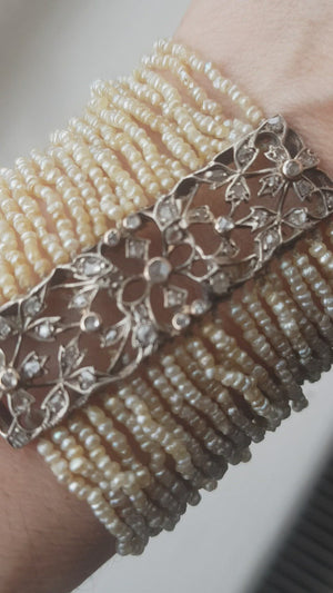 Belle Epoque 2ct Rose Cut Diamond Seed Pearl Bracelet