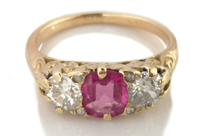 Antique Victorian .70ct Burmese Pink Sapphire & .80ct Old Cut Diamond Ring K 1/2