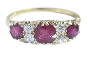 Antique Victorian 1.03tcw Ruby Old Cut Diamond Engagement Ring