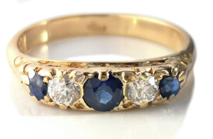 Antique Victorian 5 Stone Sapphire & Diamond 18k Gold Engagement Ring