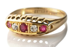 Antique Victorian 5 Stone Ruby Old Cut Diamond Engagement Ring 18k Gold