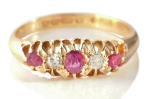 Antique Victorian 5 Stone Ruby & Old Cut Diamond Engagement Ring