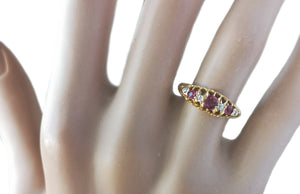 Antique Victorian 7 stone .28tcw Ruby & Old Cut Diamond 18k Engagement Ring