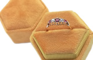 Antique Victorian 1899 5 Stone Ruby & Diamond 18k Engagement Ring