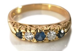 Antique Victorian 5 Stone Sapphire Diamond 18k Engagement Ring