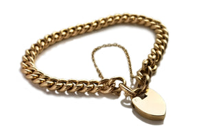 Antique Victorian Heart Padlock 18k Curb Solid Chain Bracelet