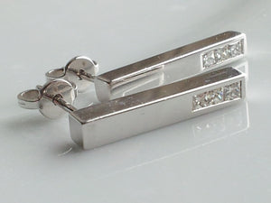 Gucci 0.4ct Diamond Bar Pendant Earrings 18k White Gold