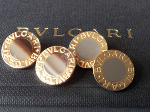 Bulgari Bvlgari 18K Gold/Stainless Steel Bi Colour Cufflinks Mint Condition