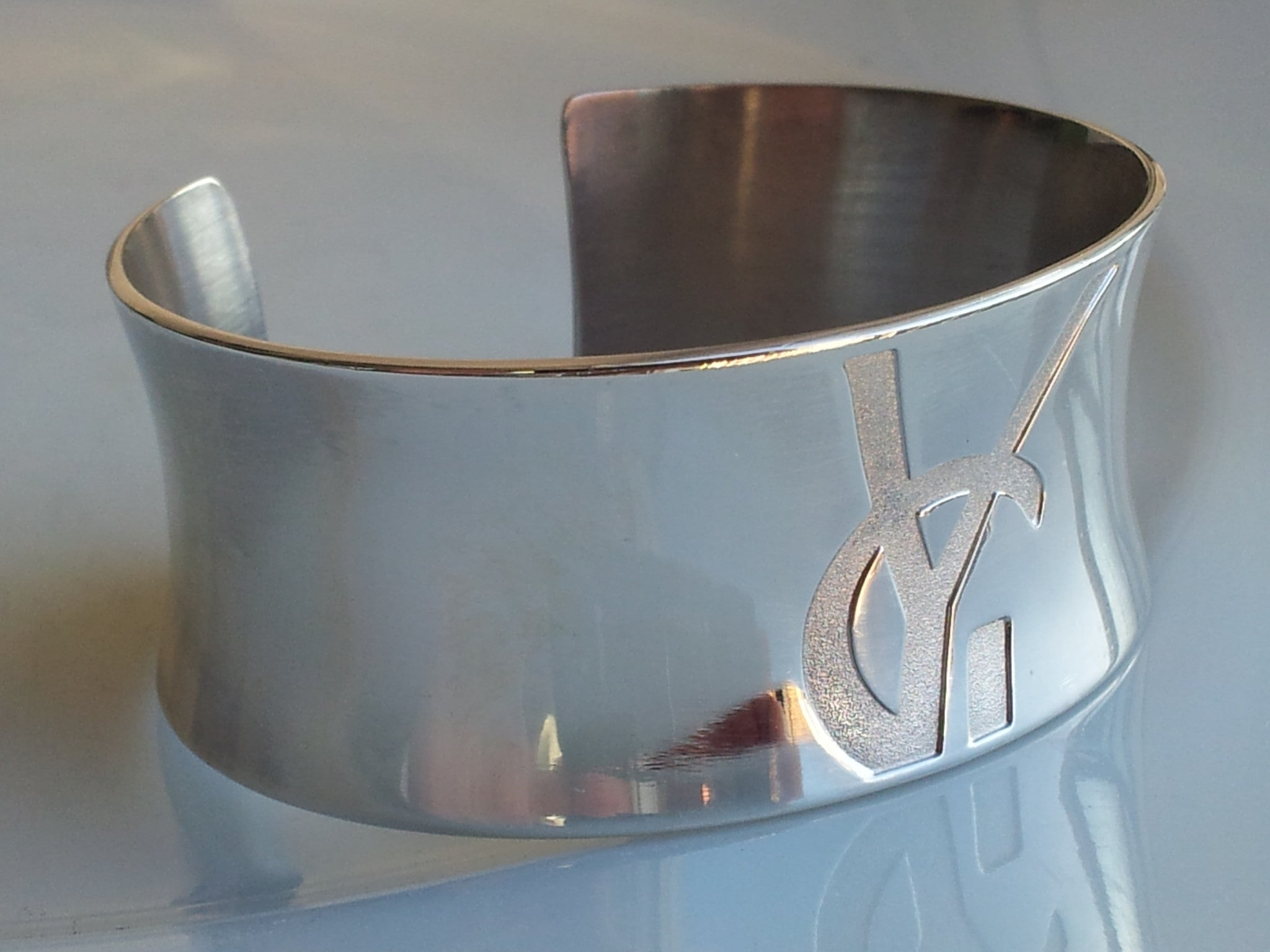 9600d8cfe39 Rare Vintage Yves Saint Laurent YSL Logo Sterling Silver Cuff Bangle B -  Bloomsbury Manor Ltd