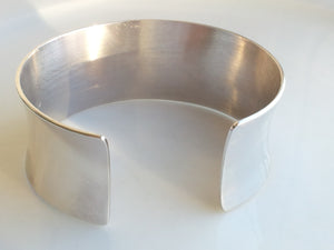 Rare Vintage Yves Saint Laurent YSL Logo Sterling Silver Cuff Bangle Bracelet