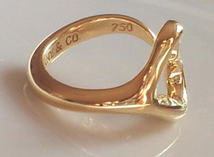Tiffany & Co. Open Heart Ring by Elsa Peretti in 18K Yellow Gold. Size K-M