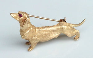 1940s Tiffany & Co. 14K Gold & Ruby Dachshund Hound Dog Brooch / Pin
