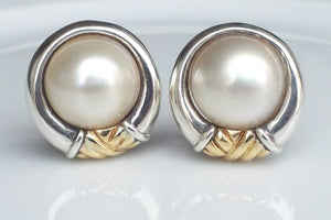 Tiffany & Co. Vintage Sterling Silver & 18K Yellow Gold Mabe Pearl Earrings with French Backs