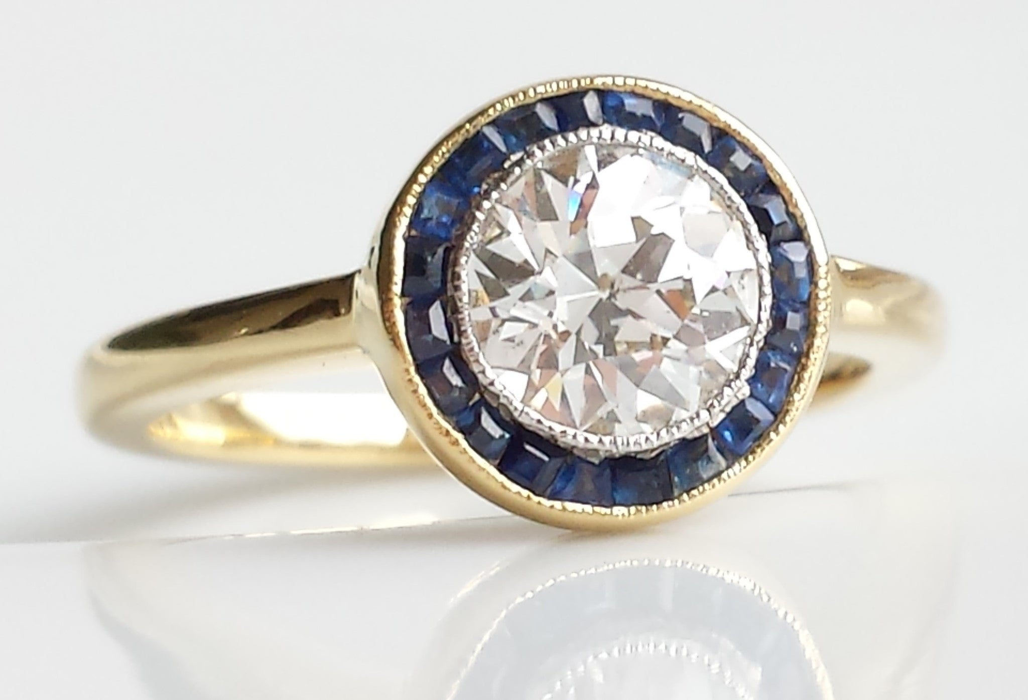 art deco antique wedding rings art deco halo target diamond sapphire engagement ring in 18k - Target Wedding Rings