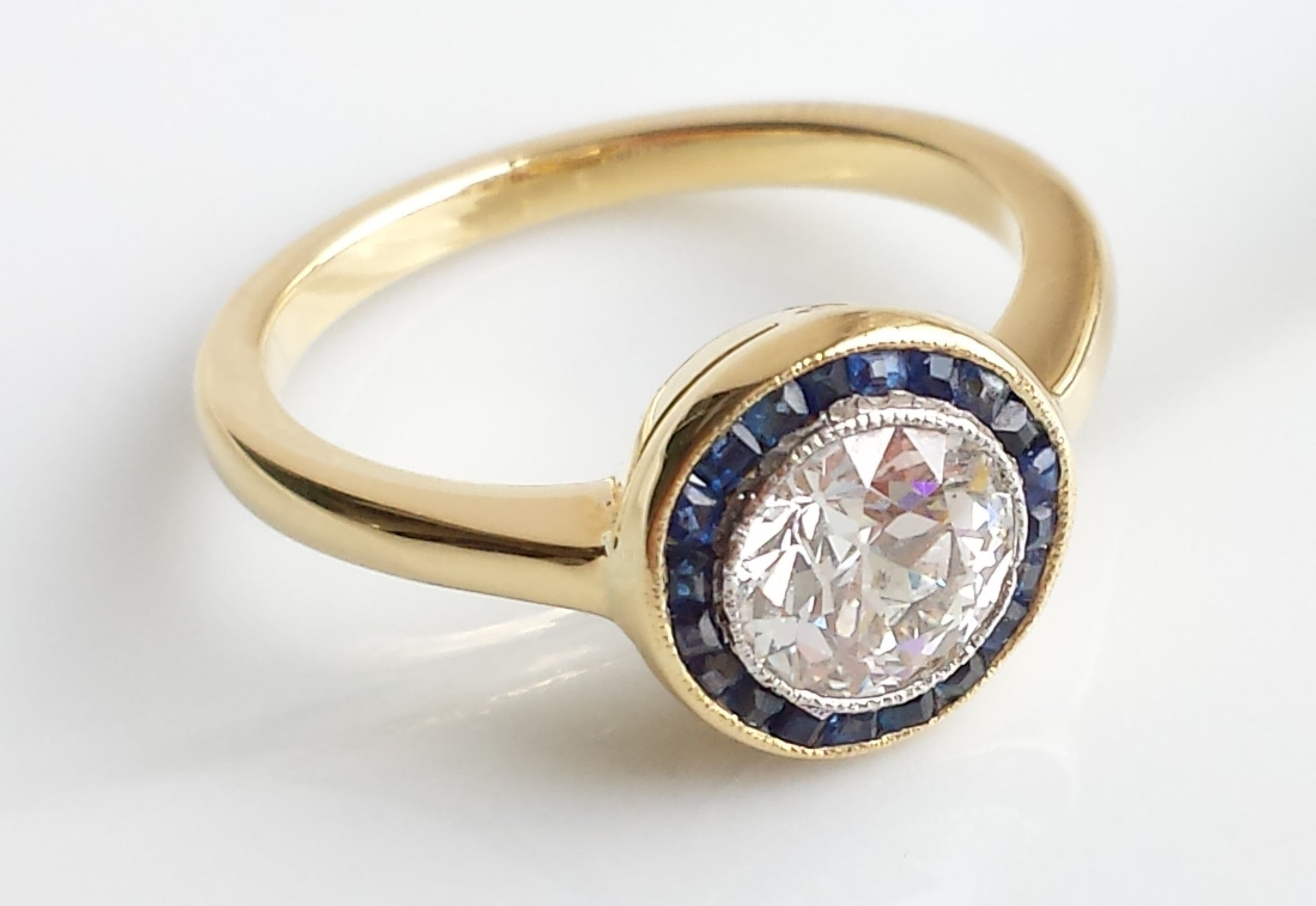 art deco halo target diamond sapphire engagement ring in 18k yellow gold - Target Wedding Rings