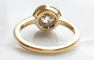 Art Deco Halo / Target Diamond & Sapphire Engagement Ring in 18k Yellow Gold