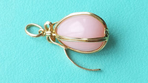 Tiffany & Co. Pink Opal Egg Charm Pendant Schlumberger Studios 18k Gold
