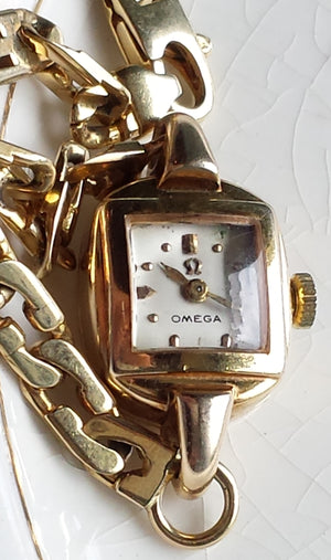 Vintage 1950s Omega 9ct Solid Gold Ladies' Cocktail Watch, 17 Jewel Movement