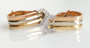 Cartier Double C 'de Cartier' Clip-on Earrings in 18K Trinity Gold & Diamond Setting