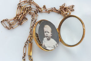 Antique Edwardian 9ct Rose Gold Picture Locket Pendant Necklace