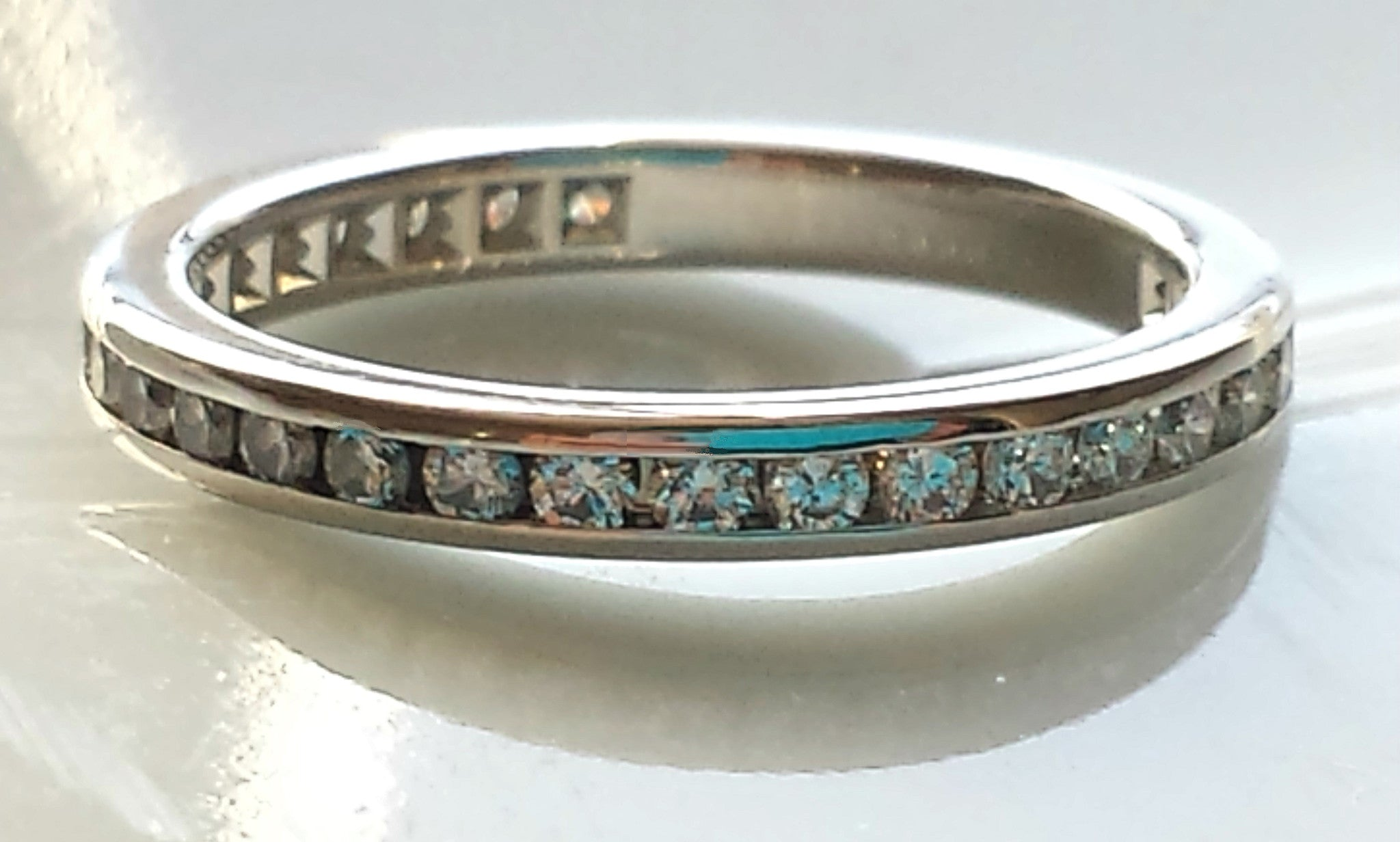 tiffany co 25mm platinum full circle diamond wedding ring size k - Tiffany Wedding Ring