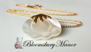 Vintage Tiffany & Co. Angela Cummings Mother of Pearl Lilly Pendant / Necklace in 18K Yellow Gold