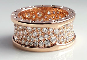 Bulgari B.Zero1 2.3ct Pavé Set Diamond & 18K Rose Gold Ring, Size 55