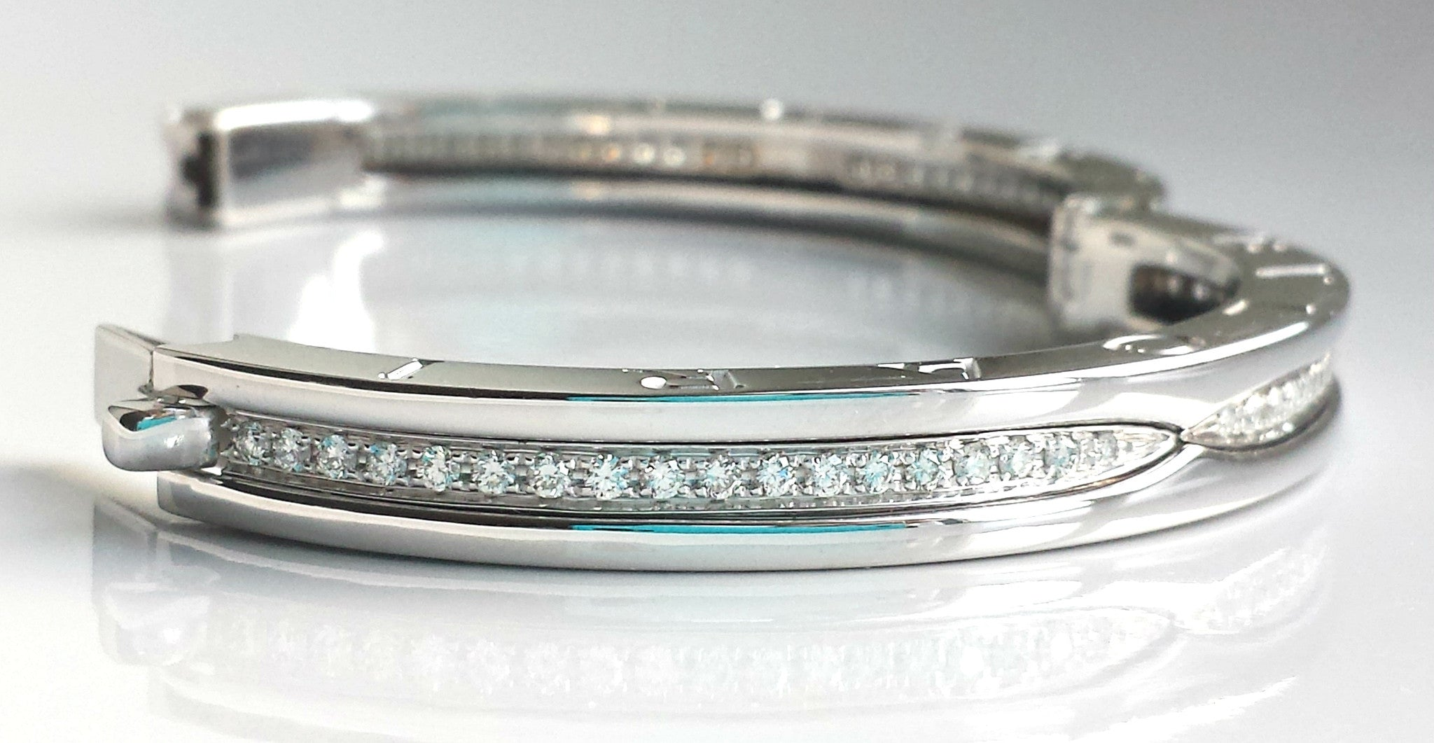 round bangle diamond pave estate white gold vintage in img bracelet bangles