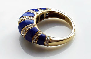 Vintage 1950s Mid Century Tiffany & Co. Lapis Lazuli & Diamond Bombe Cocktail / Dress Ring in 18K Yellow Gold