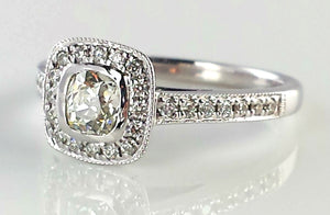 0.72ct Legacy Style Pavé Set Engagement Ring, with Old Mine Cut Diamond in 18K White Gold & GIA Cert.