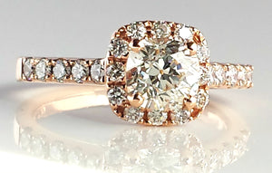 1.49ct L/VVS2 Antique Cushion Cut Diamond Engagement Ring in 18K Rose Gold Halo