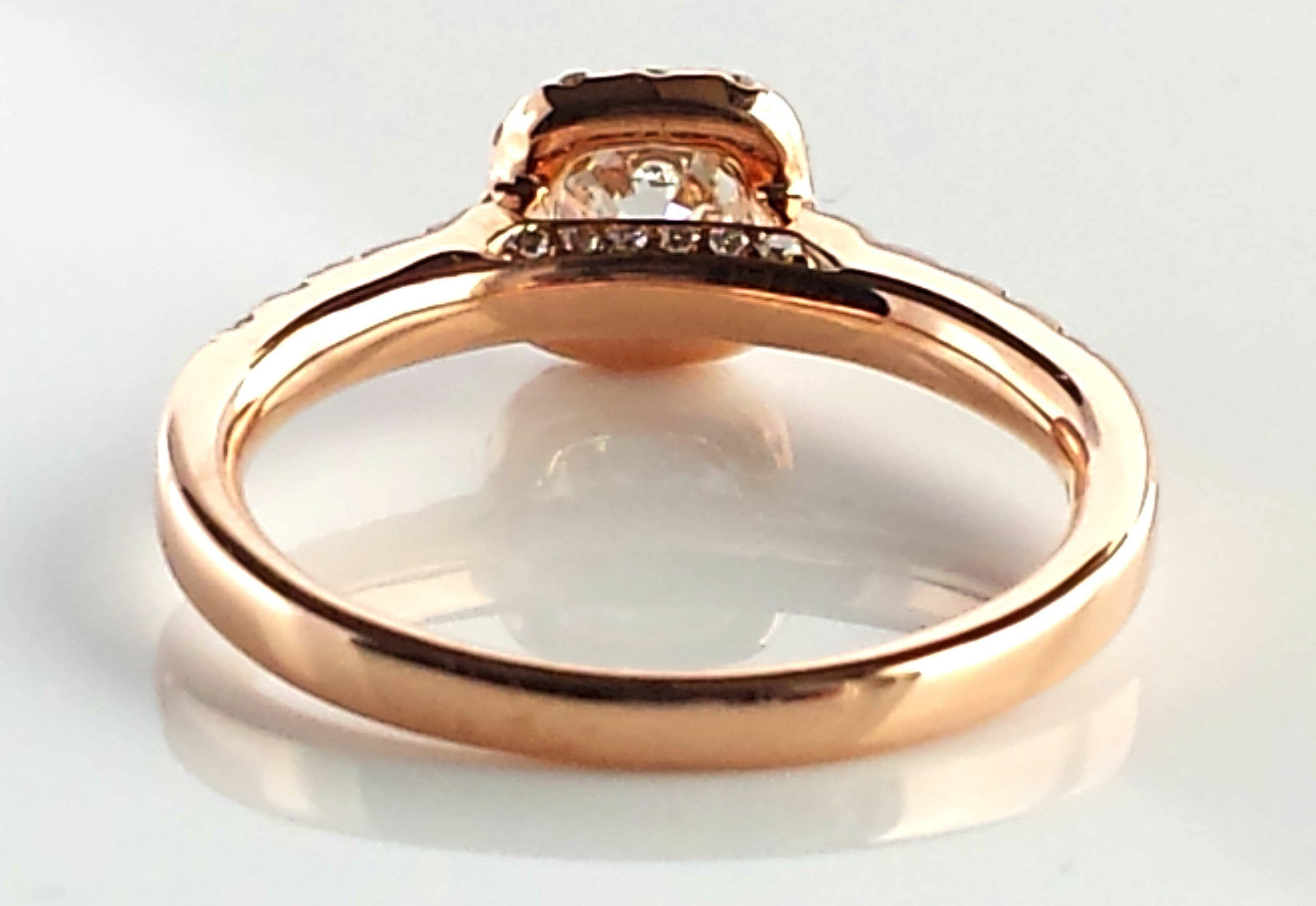 Sustainable Ethical Diamond Halo Engagement Ring in 18K Rose Gold
