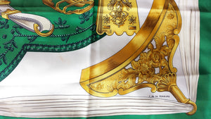 Authentic Hermès Etriers, 90cm/35in, Green & Gold Silk Scarf, by de la Perriere 2009