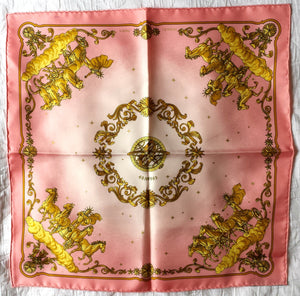 Authentic Hermès 'Cosmos', 42cm/16inch, Pink Silk Scarf by Philippe Ledoux