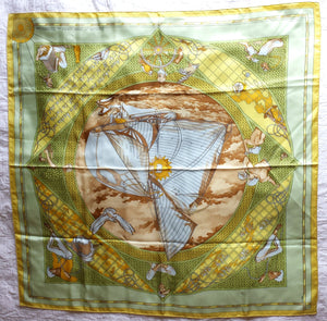 Authentic Hermès Voyage Au Long Cours, 90cm/35in, Yacht Yellow Silk Scarf