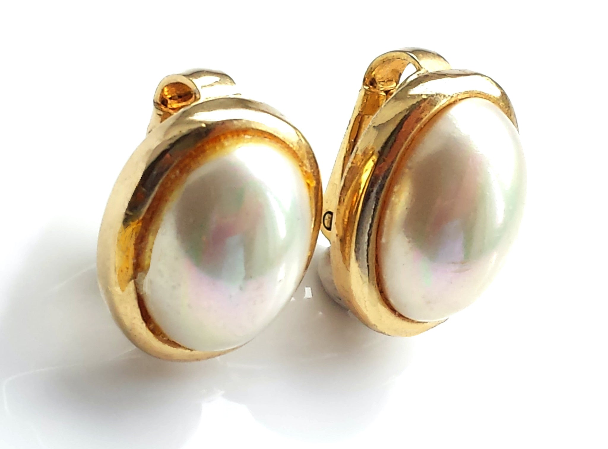 Vintage Christian Dior 1990s Faux Pearl Clipon Earrings, By Grossé, Germany