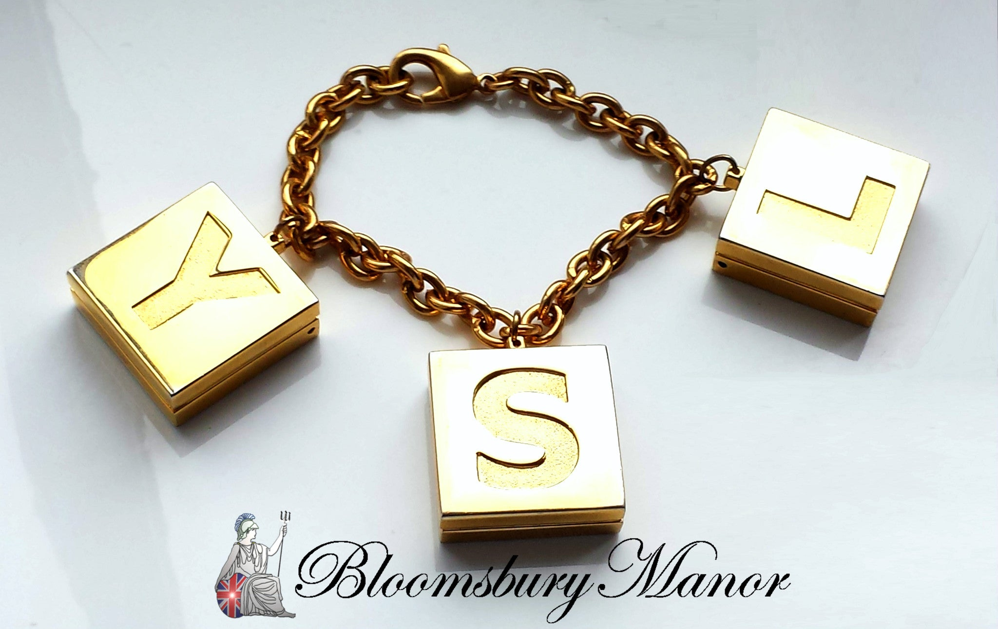 ee3a949d4b2 Vintage YSL Yves Saint Laurent Gold Tone Limited Edition Bracelet with -  Bloomsbury Manor Ltd