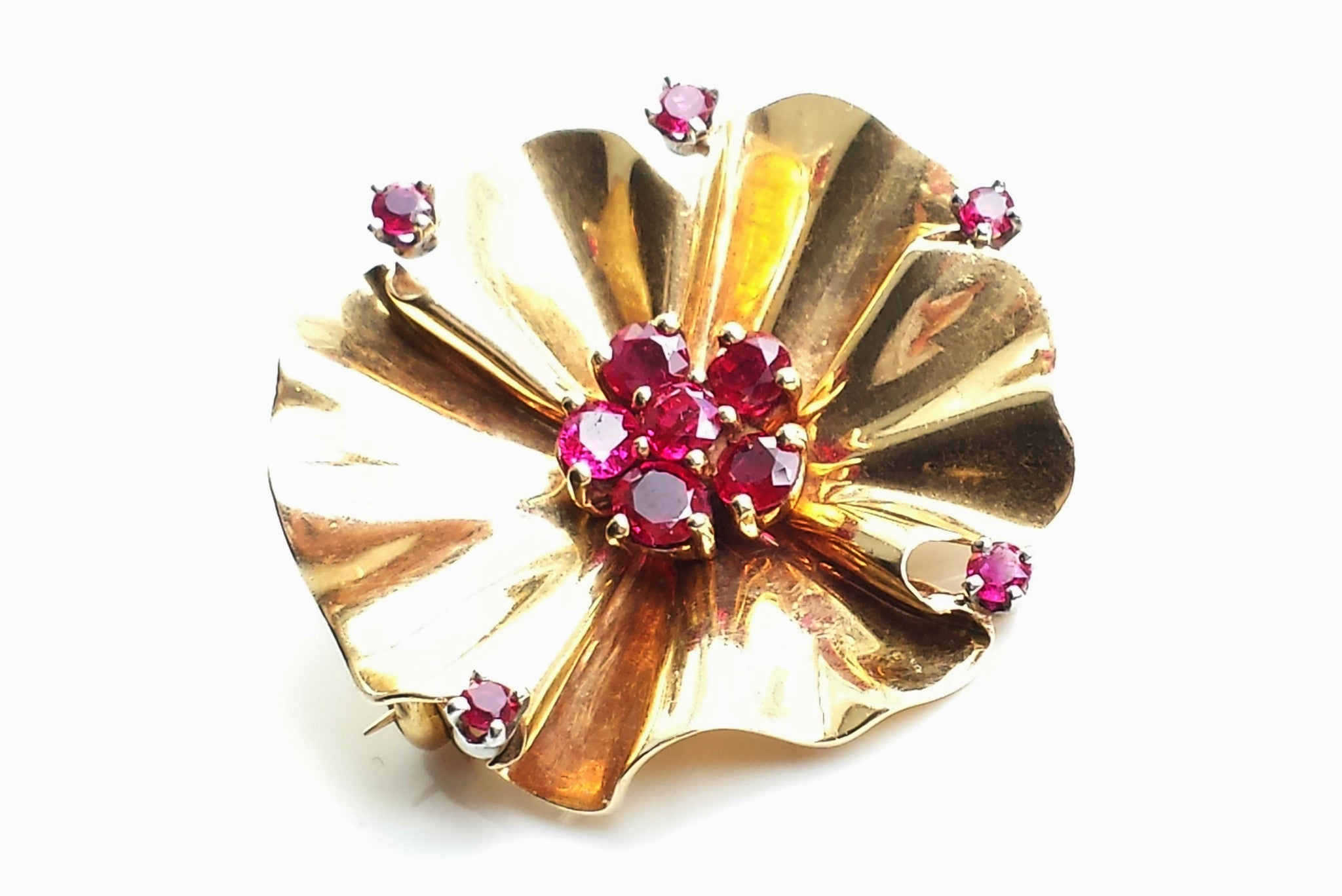336f26c67fcb8 Rare Vintage Retro Tiffany & Co. Mid-century Modernist 1940s 14k Gold &  Ruby Flower Brooch