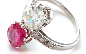 Vintage Edwardian 1.51ct Diamond & 1.37ct Burmese Ruby 'Toi et Moi' Ring in Platinum