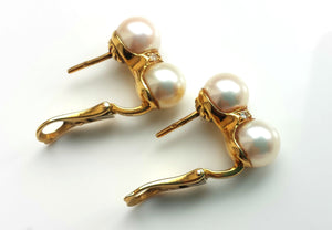 Vintage Cartier Twin 7.5mm Akoya Pearl & Diamond Earrings in 18k Yellow Gold