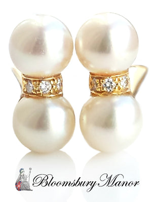 pre-owned, second hand, used, Cartier Diamond pearl Earrings