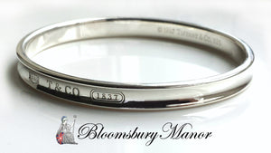 "Tiffany & Co 1837 Sterling Silver Oval Bangle 7mm re-polished 7.87"" (20cm)"