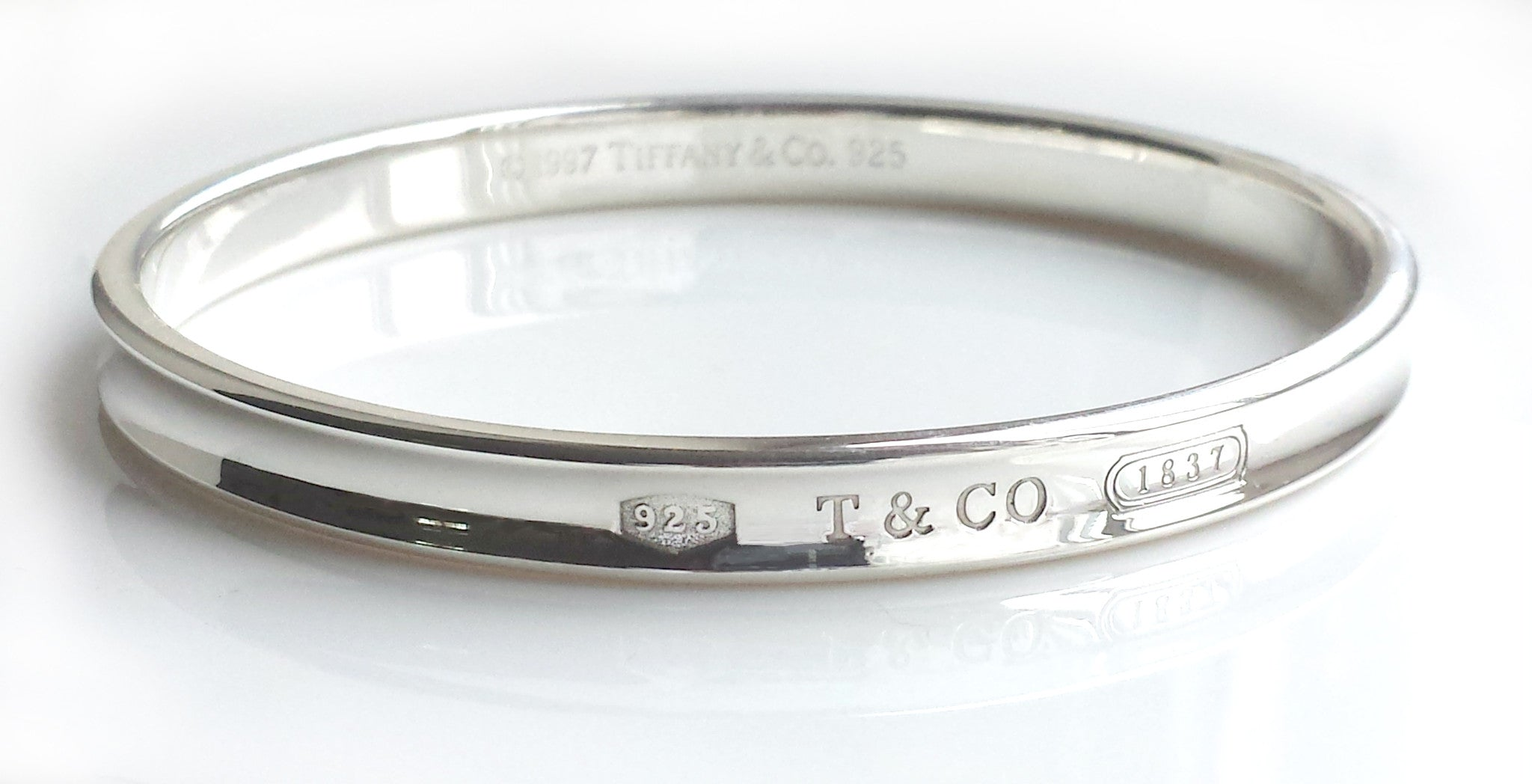c08fd24b7 Tiffany & Co 1837 Sterling Silver Oval Bangle 7mm re-polished 7.87