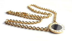 Bulgari Bvlgari Necklace in 18K Yellow Gold & Onyx, 16 inches